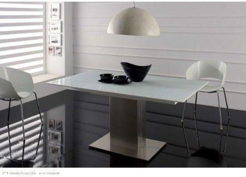 Mesa de comedor moderna, base de acero inoxidable, tapa lacada ...