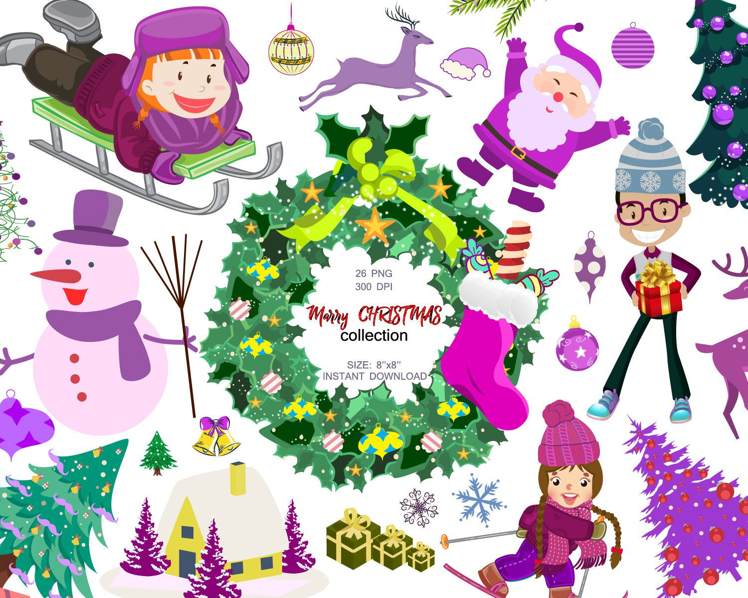 Marry Christmas collection, Christmas Clipart, Santa Claus,Winter ...