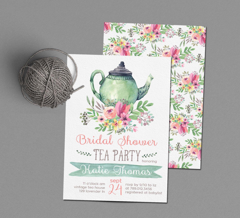 Tea Party Bridal Shower Invitations, Wedding Shower Invite Printable ...