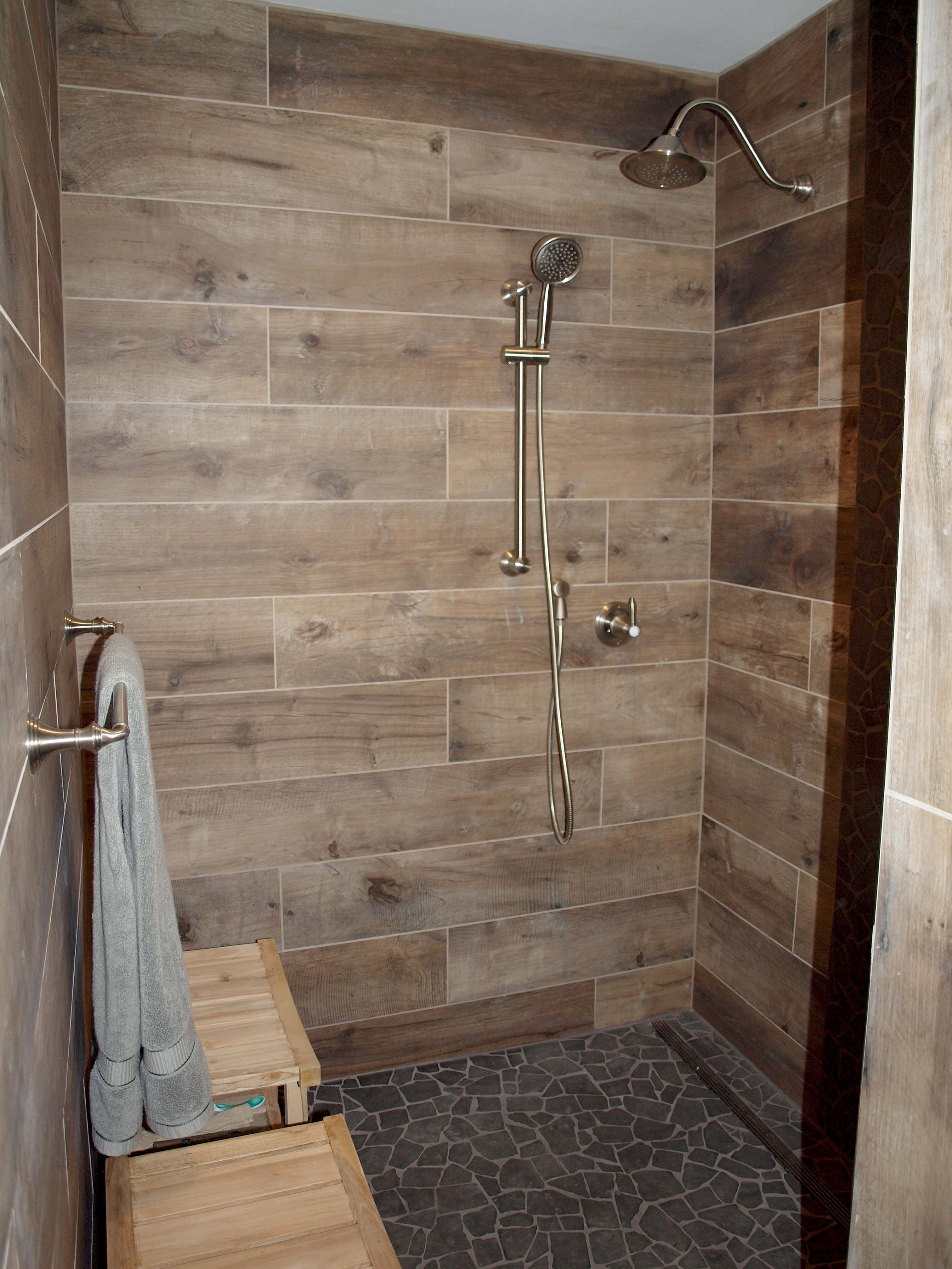 Tile Shower Ideas Commonly Showers Used To Be Simple Area For Worry That Any Exclusive Architectural Featur Simple Bathroom Wood Tile Shower Shower Remodel