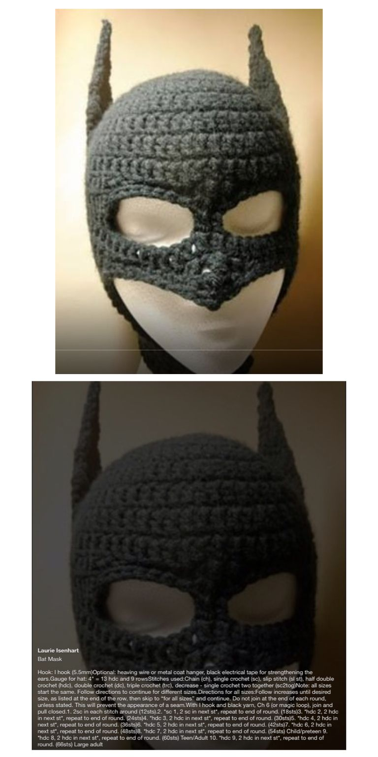 Batman hat with face mask pattern. | batman | Pinterest | Gorros ...