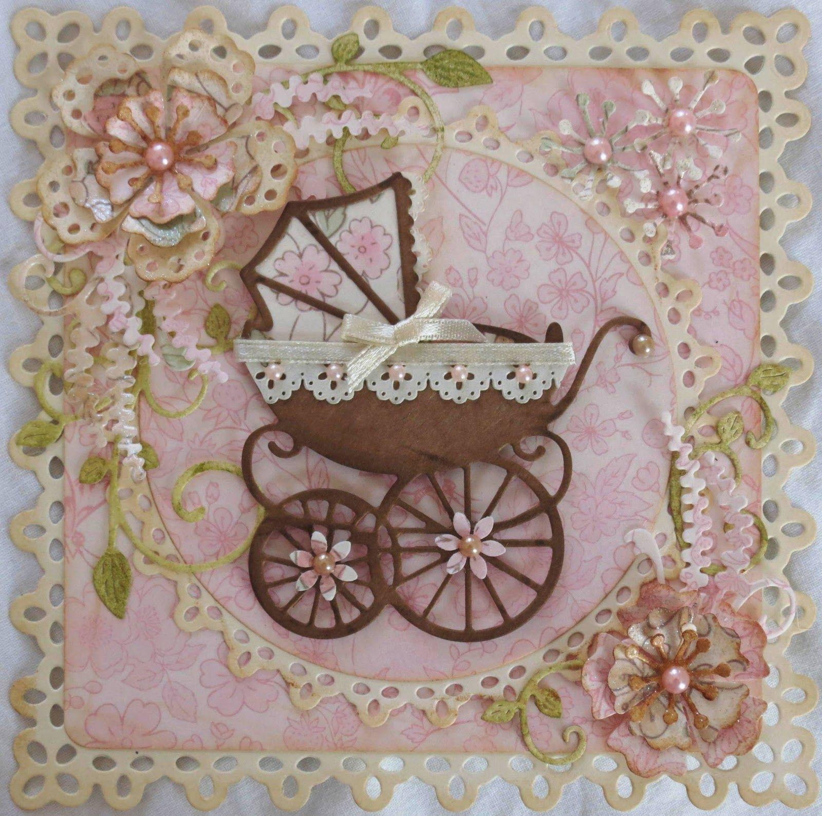 Скрапбукинг коляска на открытке