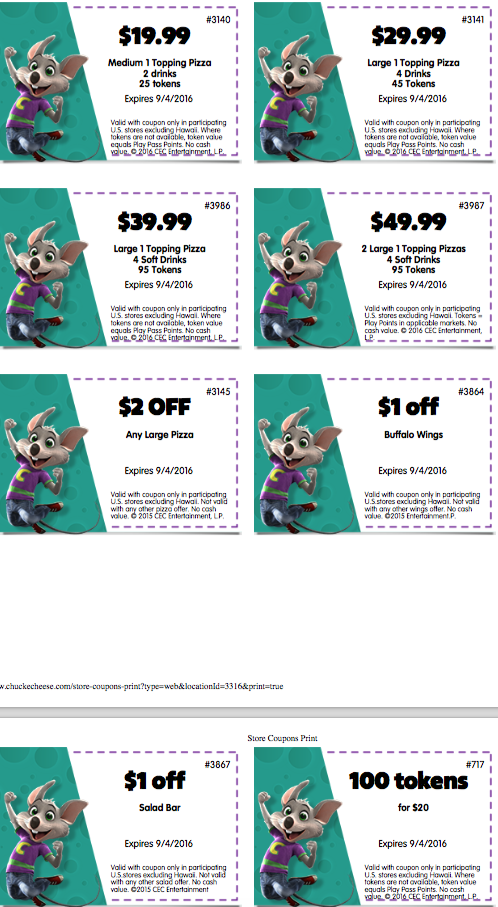 Best 2020 Chuck E Cheese Coupons, Free Tokens & Tickets