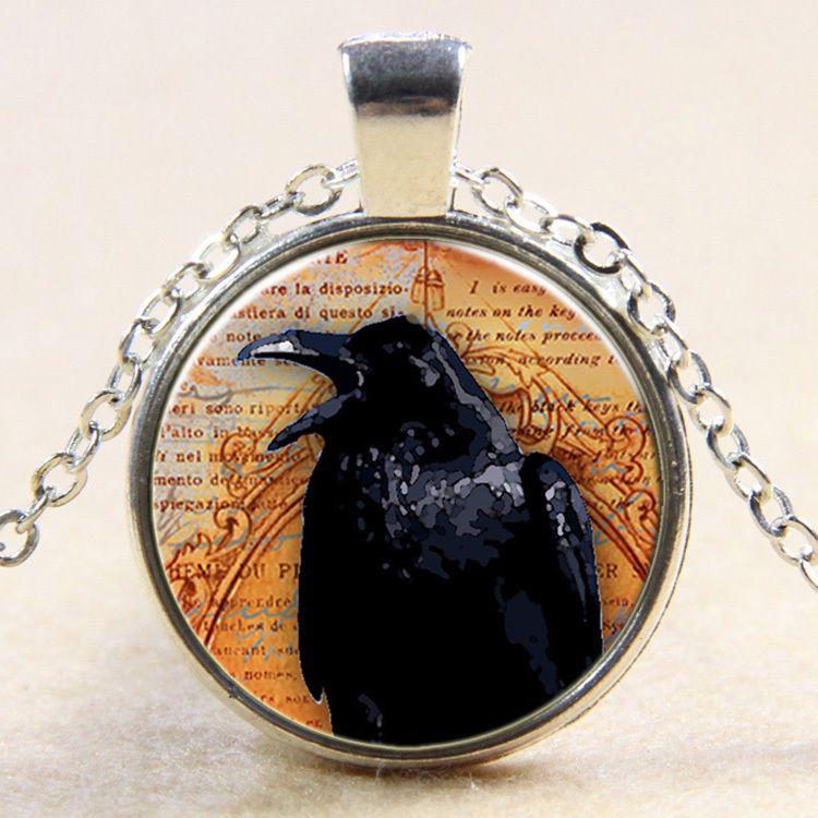 Spooky Black Bird Crow Photo Jewellery Gift Bronze Raven Glass Pendant Necklace