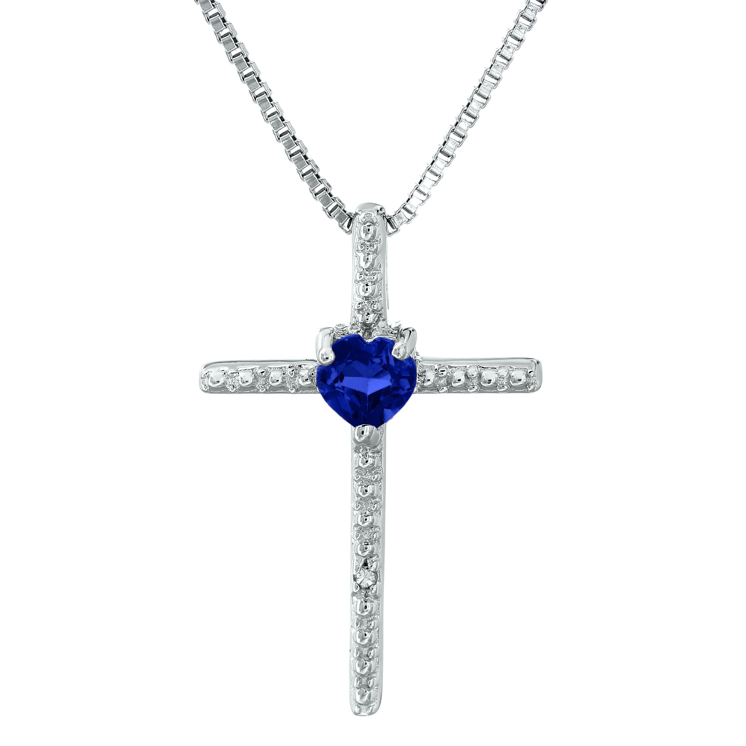 ".30 Ct Heart Blue Sapphire Diamond Sterling Silver Cross Pendant 18"" Chain"