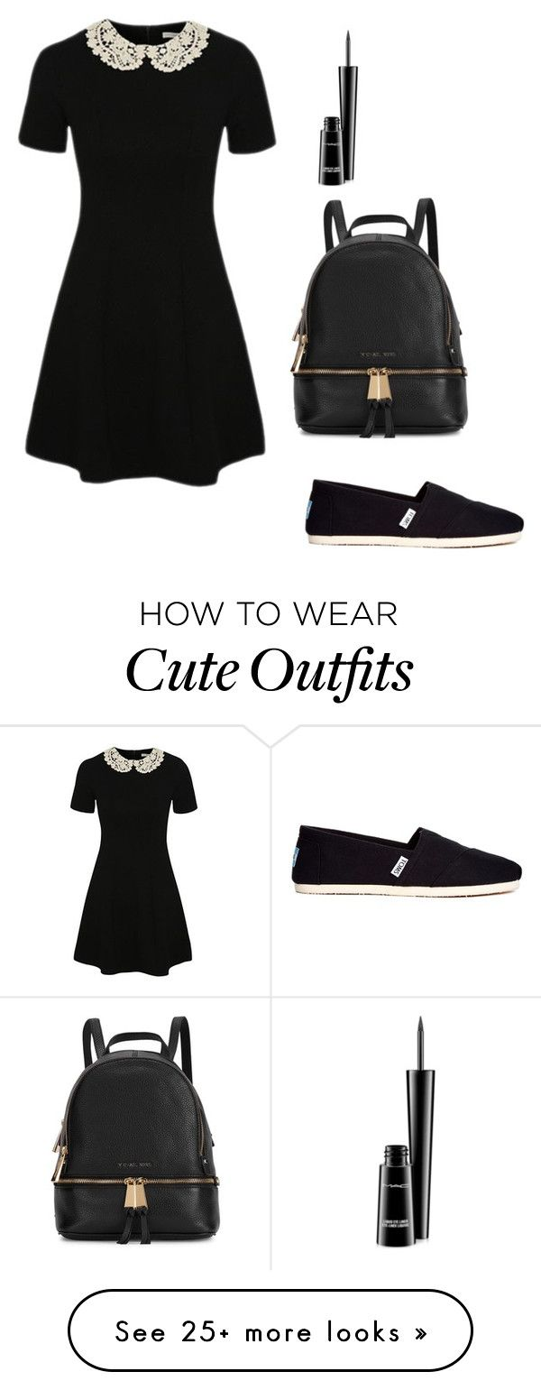 """""""If you have to go to school at least have a cute outfit"""" by sophia-marie-beauty on Polyvore featuring George, MAC Cosmetics, TOMS, Michael Kors, women's clothing, women, female, woman, misses and juniors"""