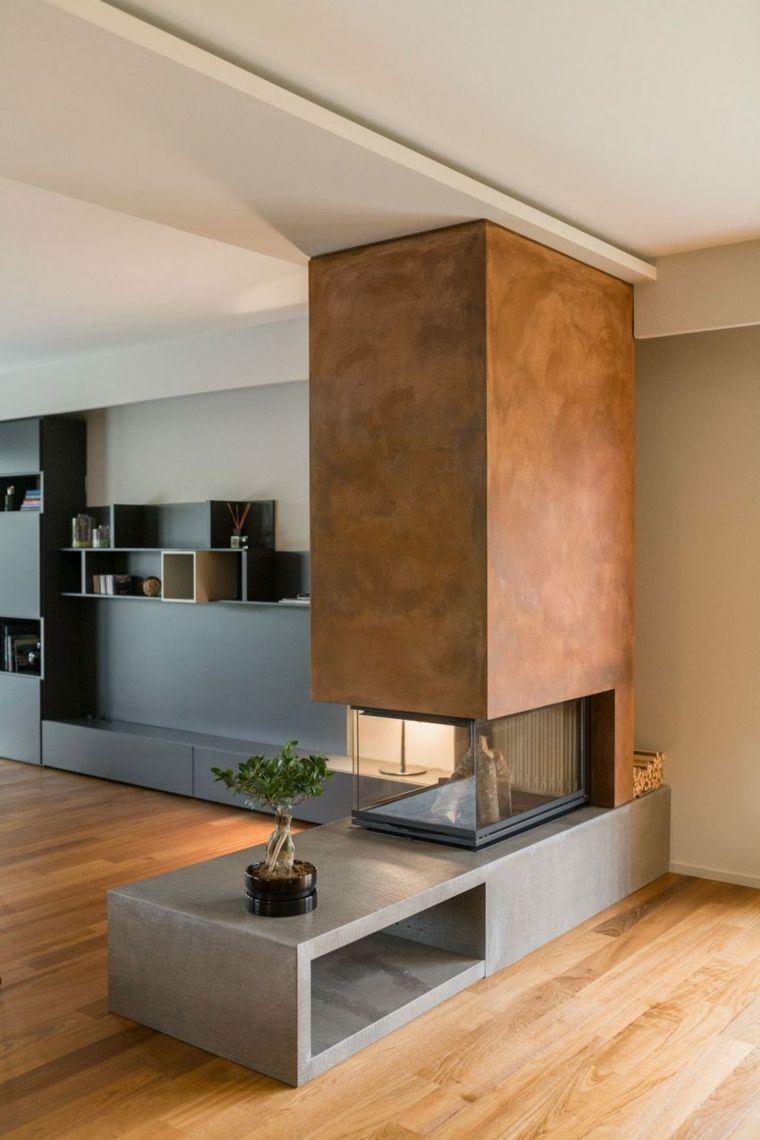Separadores originales para crear ambientes personales for Chimeneas en apartamentos pequenos