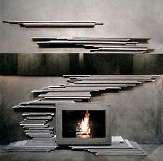 unconventional shape fireplace