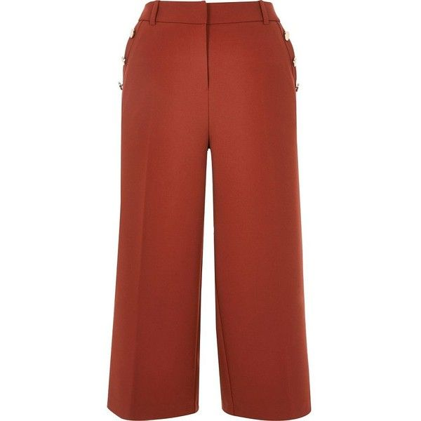 River Island Rust smart culottes (105 AUD) ❤ liked on Polyvore featuring pants, capris, culottes, women, cropped capri pants, cropped pants, red trousers, red pants and rust pants