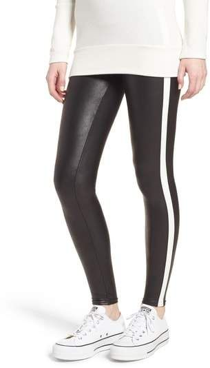 cf793dc5f574b5 SPANX(R) Side Stripe Faux Leather Leggings Available Colors: Black  Available Sizes: Large ,Medium ,Small ,X-large ,X-small Super-sleek,  faux-leather ...
