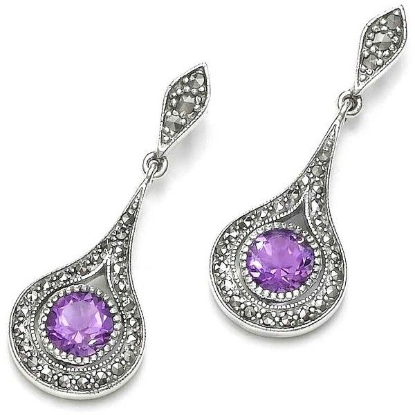 * Limited Offer Bohemian Amethyst Marcasite Sterling Silver Earrings ($86) ❤ liked on Polyvore featuring jewelry, earrings, sterling silver jewelry, bohemian earrings, sparkly earrings, marcasite jewelry and purple jewelry