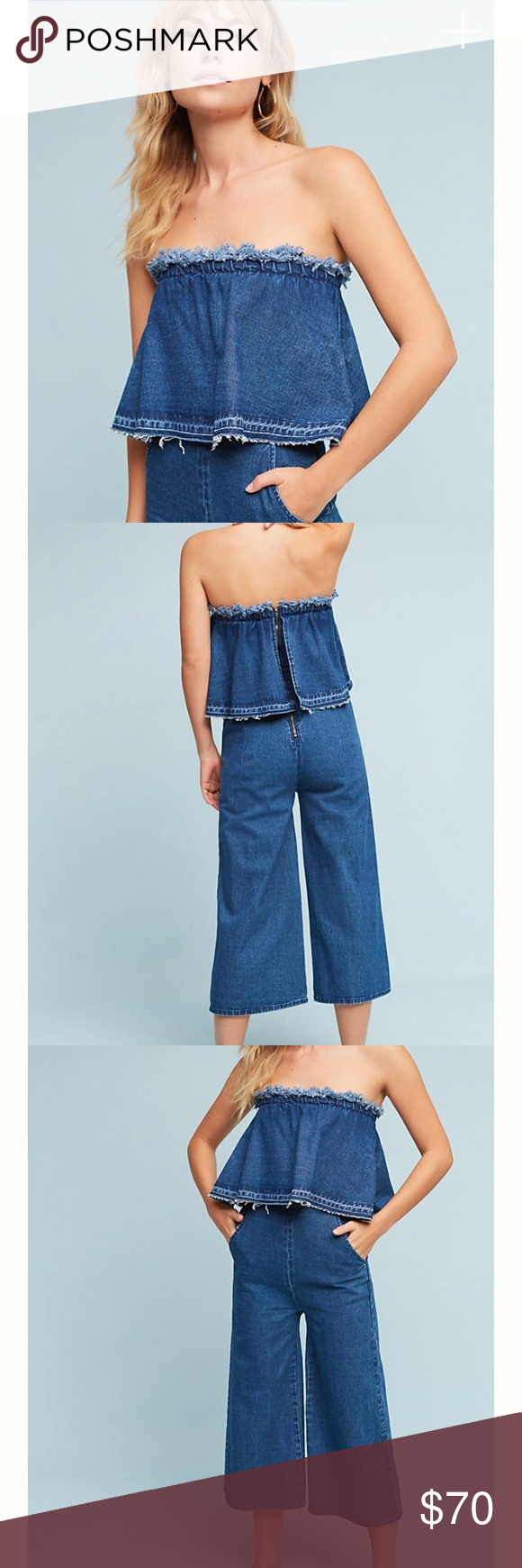 898a3a3ddbe7 Anthropologie Tiered Denim jumpsuit Currently in stores and online for   138!! Size xs but