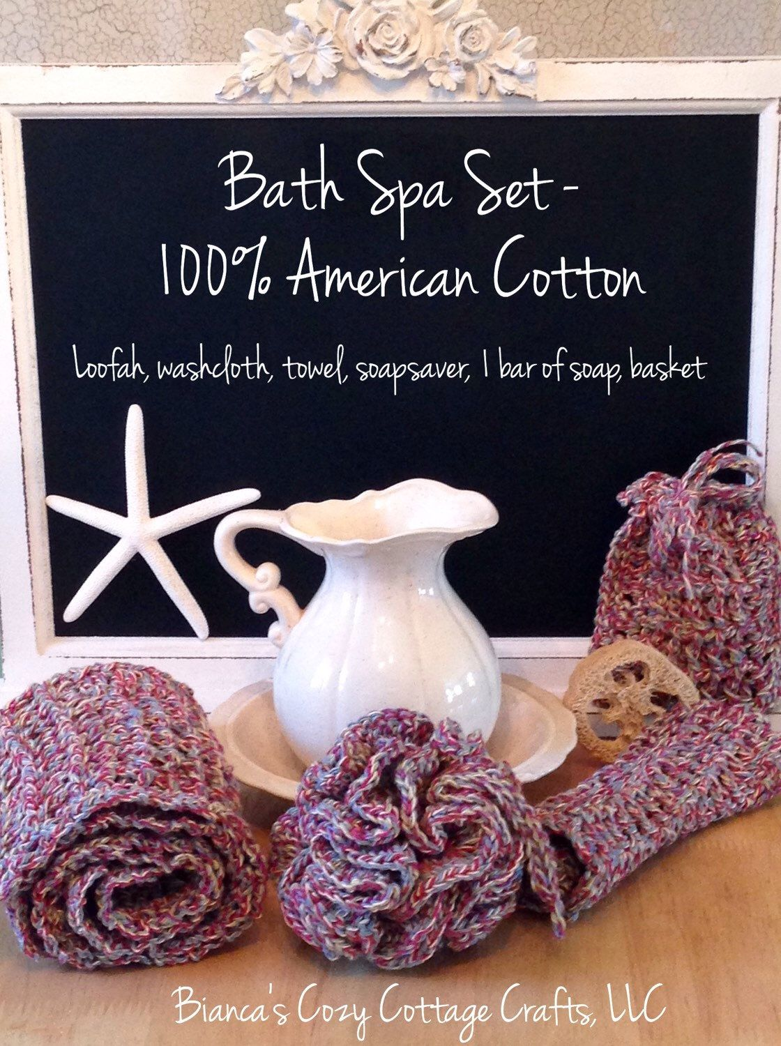 A personal favorite from my Etsy shop https://www.etsy.com/listing/262245225/crochet-spa-bath-set-loofah-soapsaver