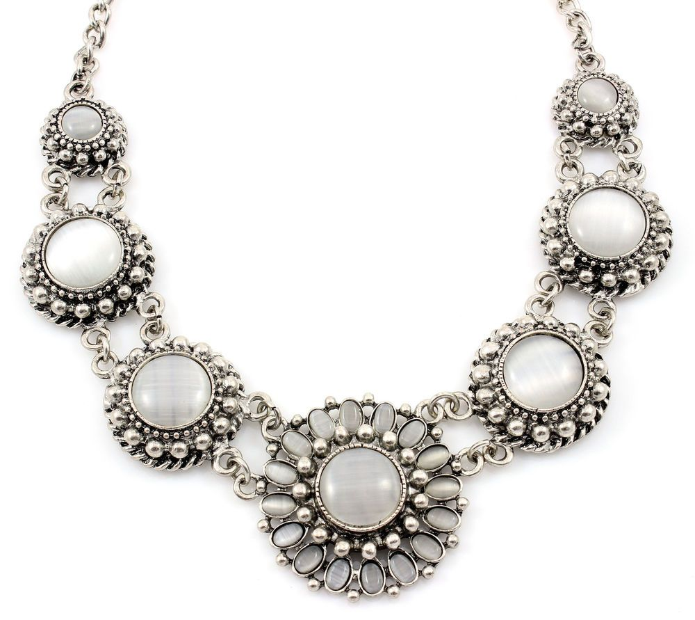 New Design Silver Opal Rhinestone Crystal Bib Statement Necklace Collar