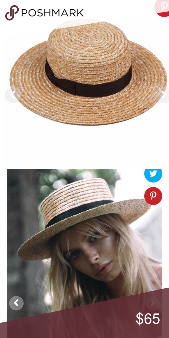 dddcd9daeabc2 Spencer Boater Hat Straw and black boater hat