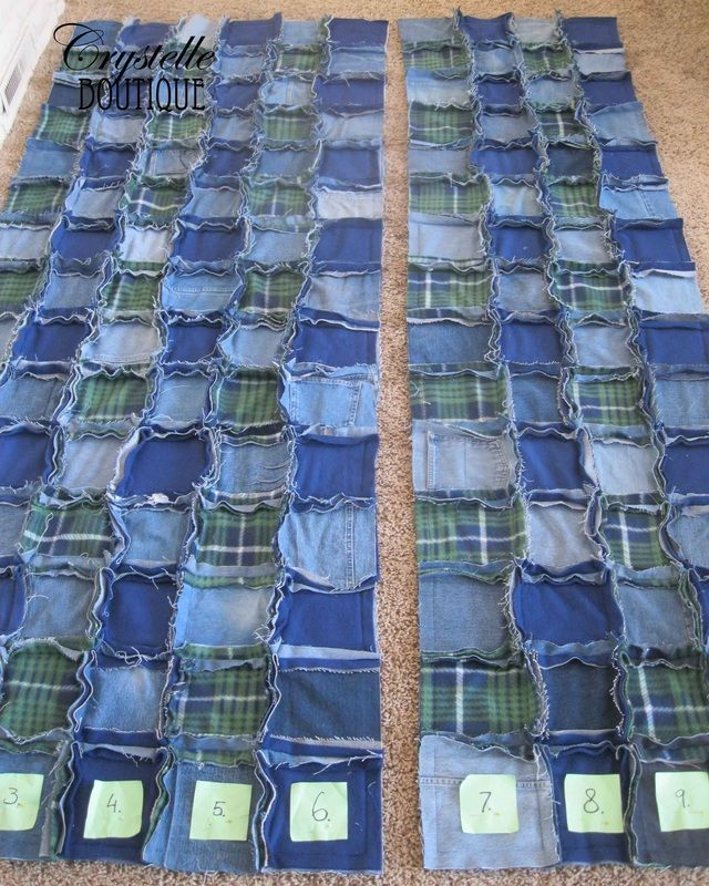 Easy Jeans And Fleece Rag Quilt Tutorial