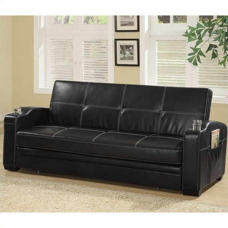 Best Coaster Faux Leather Sofa Bed In Black 300132 640 x 480