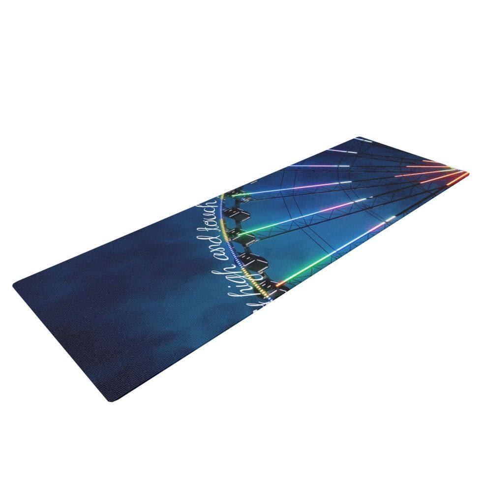 """Beth Engel """"Fly High And Touch The Sky"""" Navy Blue Yoga Mat"""