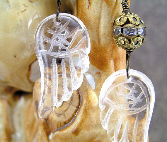 Etched Rock Crystal Earrings