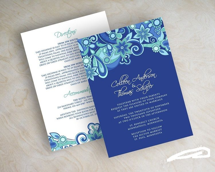 Royal Blue Wedding Invitation Background Designs Invitation Card