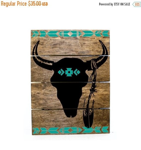 Western Decor On Sale: ON SALE Tribal Print Steer Skull Pallet Sign Indie By