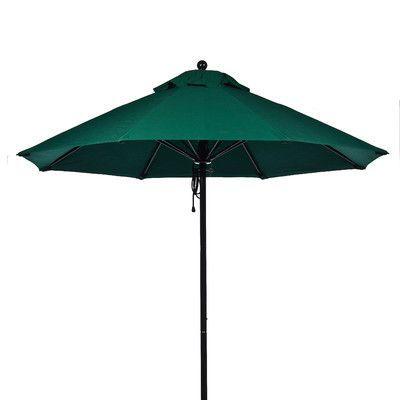 Frankford Umbrellas 11' Market Umbrella Fabric: Forest Green, Pole Type: Black Coated Aluminum Pole