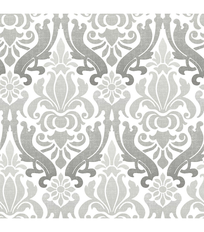 Wallpops Nuwallpaper Grey Nouveau Damask Peel Stick Wallpaper Online Only Product Nuwallpaper Grey Wallpaper Peel And Stick Wallpaper