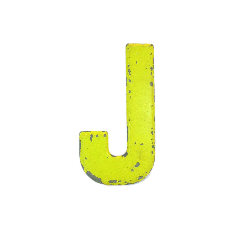 "Galvanized Monogram Letters 7 12"" Rustic Vintage Metal Letter J  Marquee Signage  Letter"