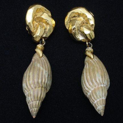 Shell Earrings Couture Antigona Paris Vintage