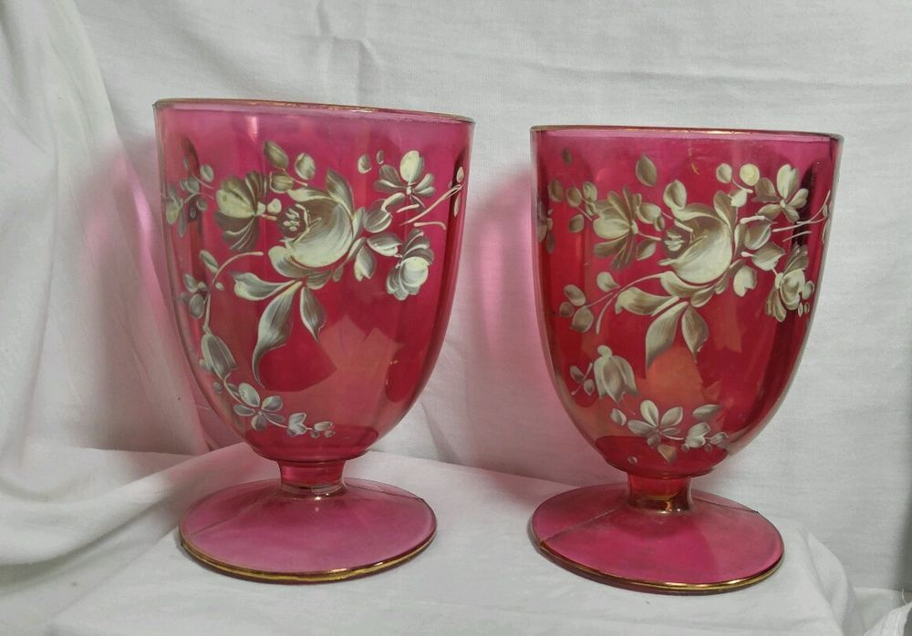 Vintage Set of 2 Footed Large Painted Glass /Cup Flowers Roses Handpainted