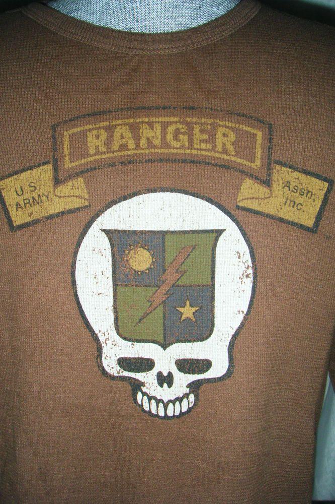US Army Ranger shirt size Large Brown Waffle Crew Military #USArmyRanger #crewnecklongsleeveshirt