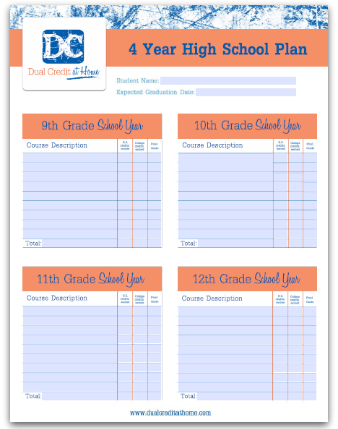 Four Year High School Plan Template | High School Homeschool ...