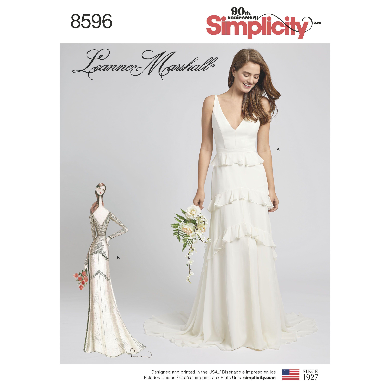Knee length vintage wedding dresses  Simplicity  Missesu Gown with Train Option  Bridal dresses