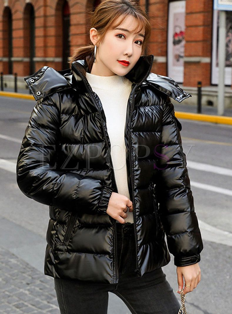 Hooded Slim Short Puffer Coat Slim Shorts Puffer Jacket Women Puffer Coat [ 1066 x 789 Pixel ]