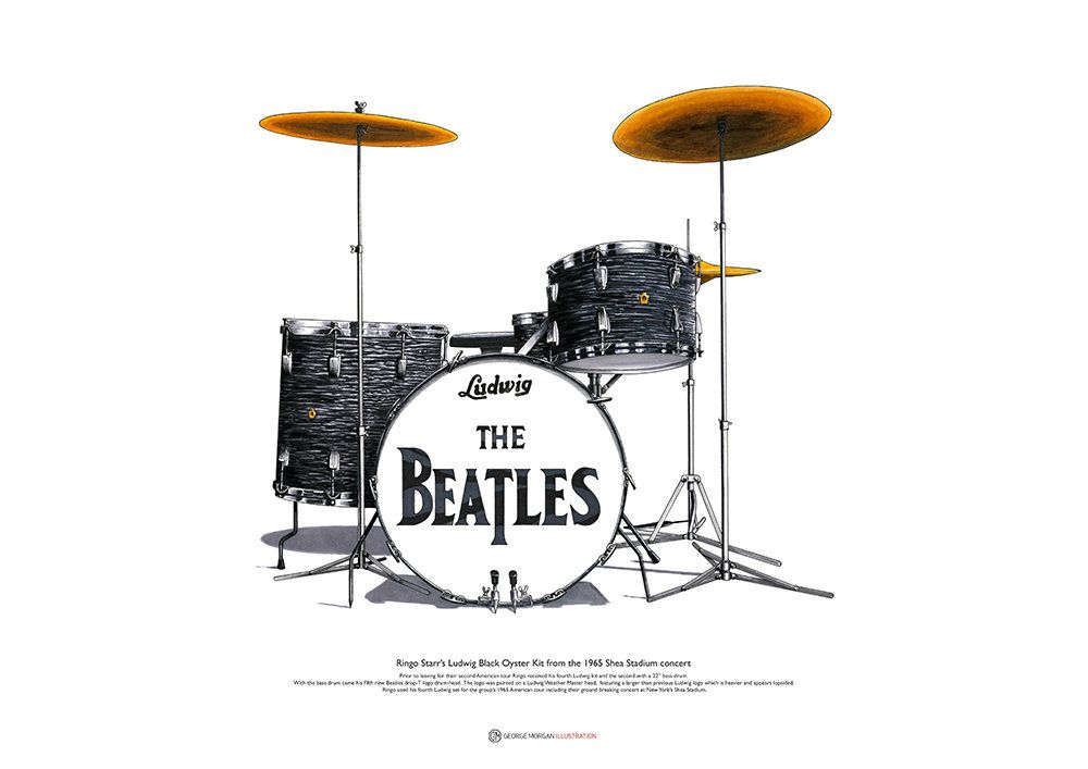 Ringo Starr S Ludwig Kit From The Shea Stadium Concert Art Poster A2 Size Shea Stadium Ringo Starr Starr