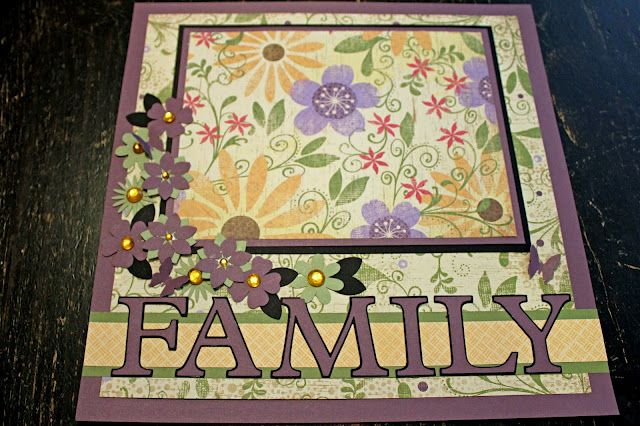 """12""""x12"""" Scrapbook Family Page of CTMH and Cricut  Philosophy cartridge flowers"""