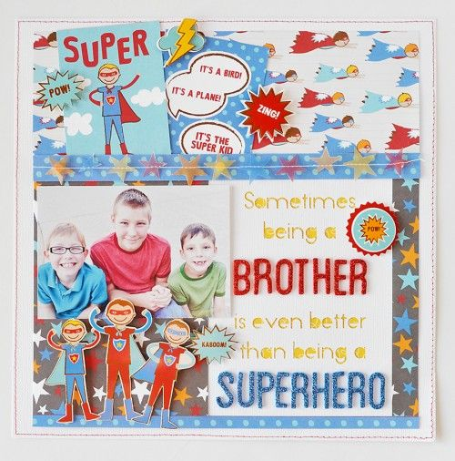 Super Cute!! Superhero #scrapbook design using the Party with Amy Locurto Scrapbook & Party #Paper Collection. Great for wall decor.