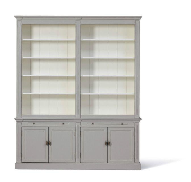 landelijke boekenkast white wash afmeting h 241 cm x b 200 cm x d 43 cm
