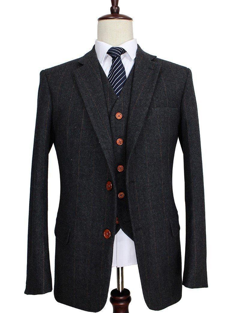 Men S Suit Herringbone Tweed Suit 3 Piece Suit Dark Grey Mens Fashion Edgy Tweed Suits Wedding Suits