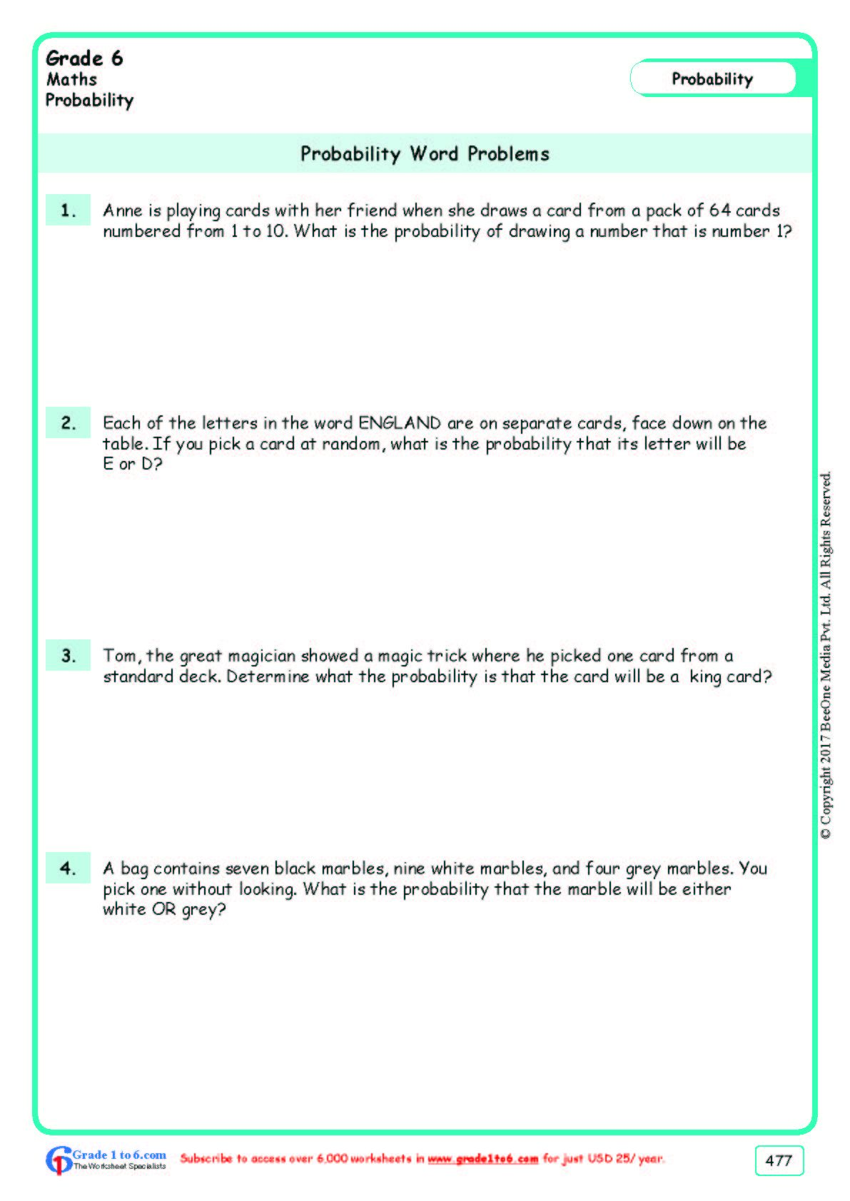 Worksheet Grade 6 Math Probability Word Problems In