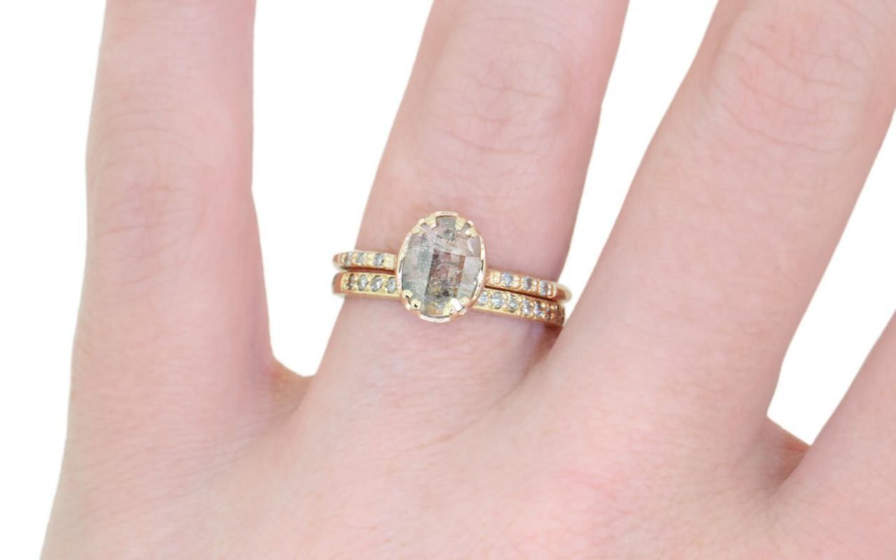 87 Carat White/Gray Diamond Ring in Yellow Gold | Jewelry | Pinterest