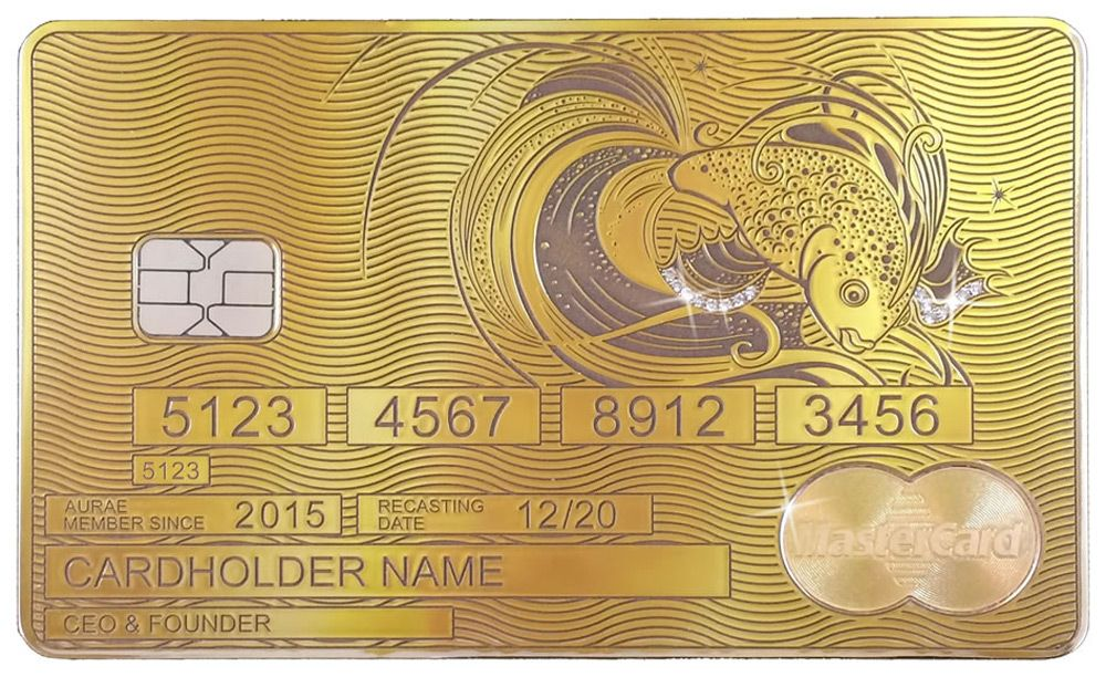 Aurae Launches World S First Bespoke Solid Gold Mastercard By Aurae Extravaganzi Credit Card Design Gold Credit Card Luxury Card
