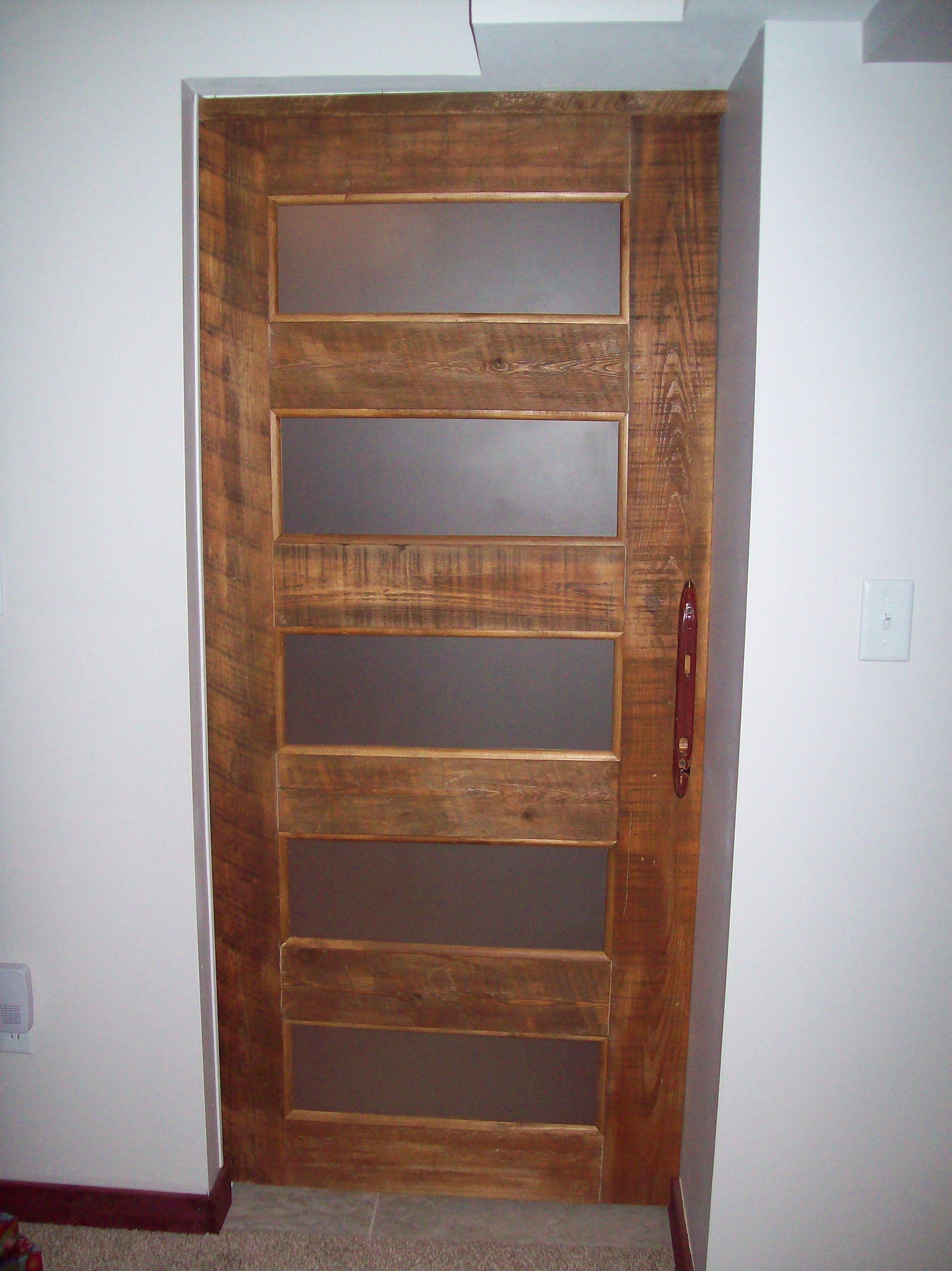 Pocket door on a rustic basement I