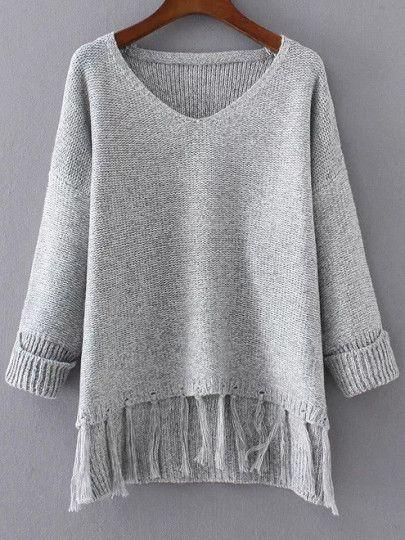 Shop Grey V Neck Rolled Cuff Fringe Hem Sweater online. SheIn offers Grey V Neck Rolled Cuff Fringe Hem Sweater & more to fit your fashionable needs.