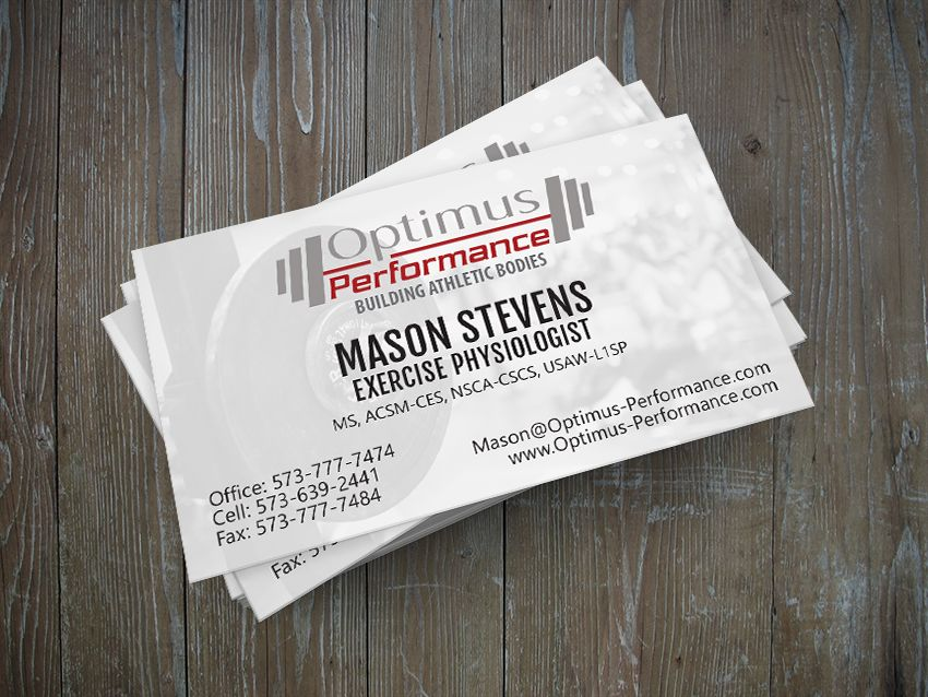 Optimus Performance Business Card Design by Igniting Business ...