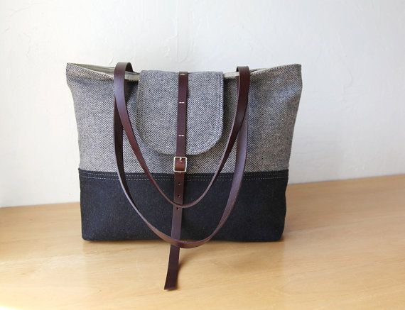 Handmade 2-Tone Tote in Herringbone Wool and Leather // Charcoal Gray // Organic Cotton Canvas Lining
