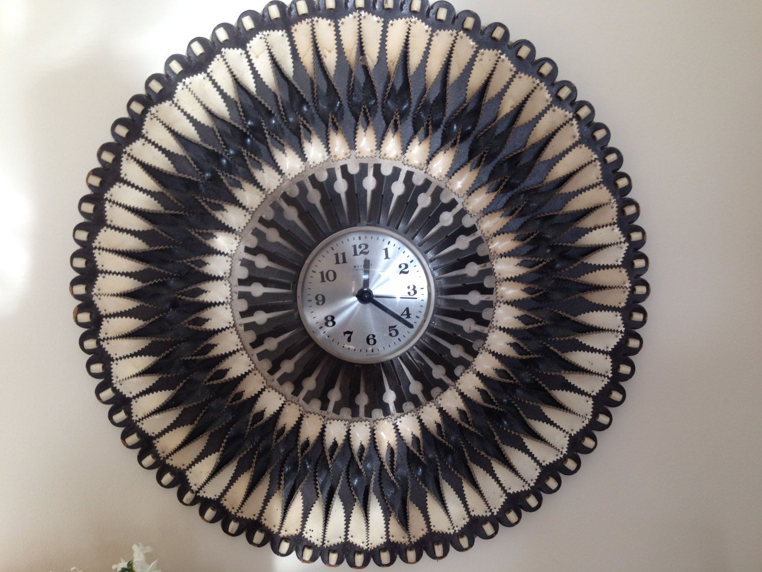 Retro large leather wall clock hand made from twists of black and retro large leather wall clock hand made from twists of black and white leather amipublicfo Gallery