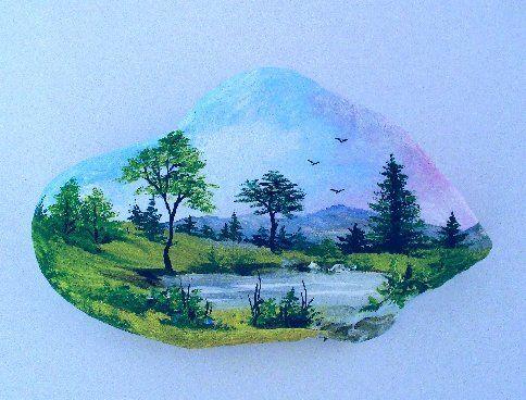 paysage paysage manpa galets peints peinture sur cailloux et peinture sur galet. Black Bedroom Furniture Sets. Home Design Ideas
