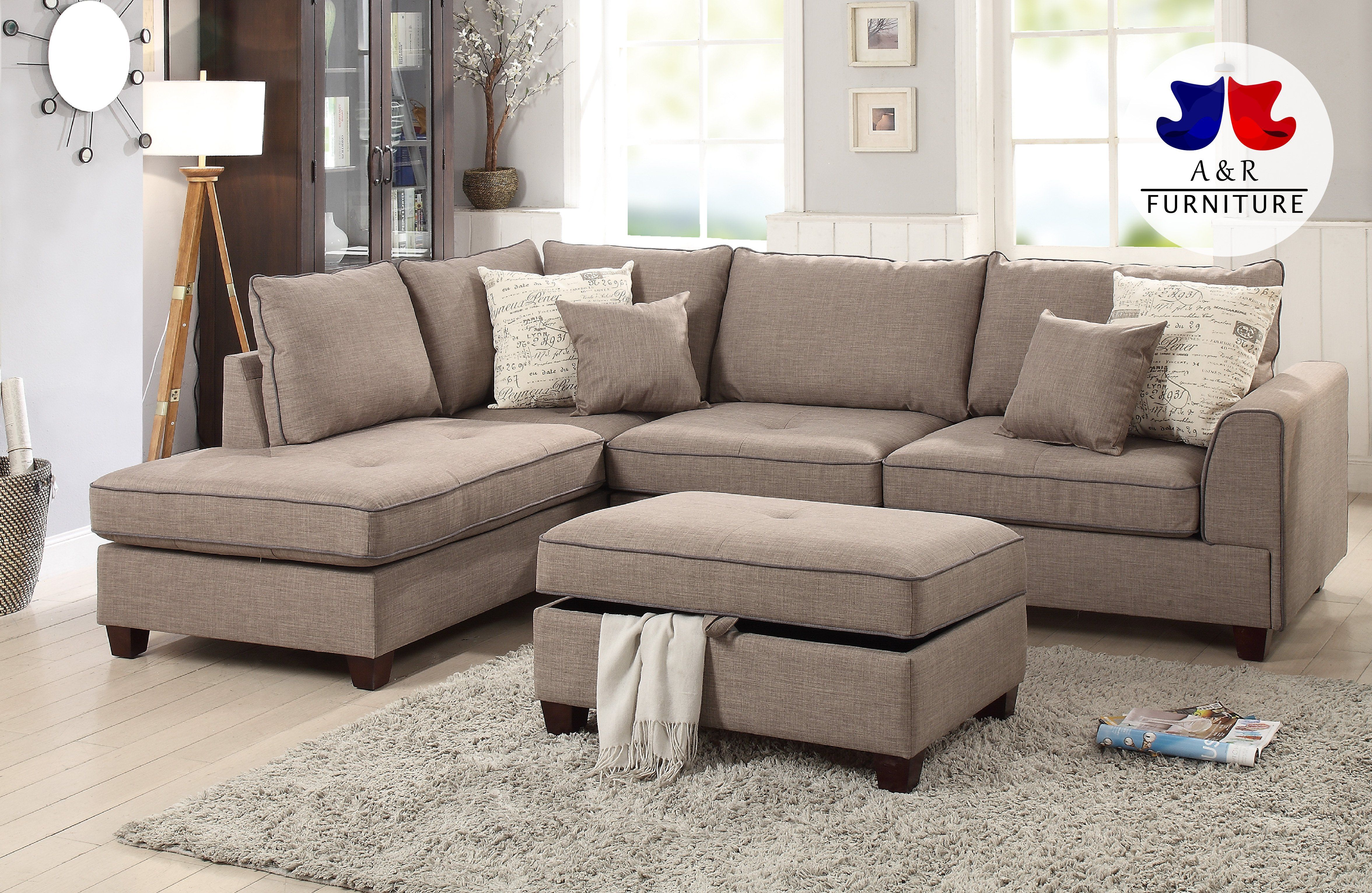 2 Pc Blue Grey Sectional Sofa W Storage Console W Usb Pdx 25