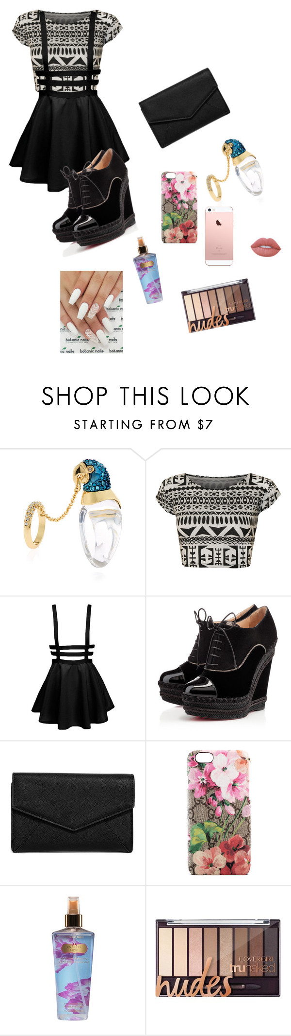 """""""Untitled #247"""" by sophiehemmings18 ❤ liked on Polyvore featuring Alexis Bittar, WearAll, Christian Louboutin, LULUS, Gucci, Victoria's Secret and Lime Crime"""
